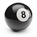 Billiard black eight ball. on white background