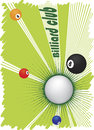 Billiard club banner with abstract green motive vector illustration Stock Photography