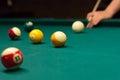 Billiard game shooting a strip ball Royalty Free Stock Photos