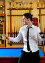 Billiard handsome young man with shirt cue and tie Stock Photo