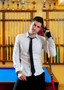Billiard handsome young man with shirt cue and tie Stock Photos
