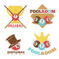 Billiard pool club poolroom vector labels templates set
