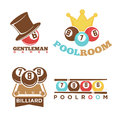 Billiard or pool club poolroom vector labels templates set Royalty Free Stock Photo