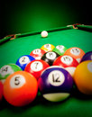 Billiard spheres fifteen lay on green cloth Royalty Free Stock Photography