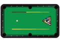 Billiard table with balls and cues vector illustration Stock Images