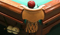 Billiard table close up of a with green cloth with balls and cue Stock Photos
