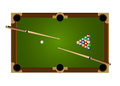 Billiard table set its contained pool balls and cue Royalty Free Stock Photos