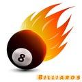 Billiards ball with red orange yellow tone fire in the white background. sport ball logo design. billiards ball logo. vector.