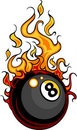 Billiards Eight Ball Flaming Cartoon Royalty Free Stock Photo