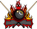 Billiards Eight Ball Flaming Design Template Stock Image