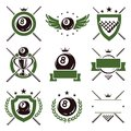 Billiards  labels and icons set. Vector Royalty Free Stock Photo