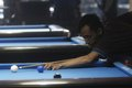 Billiards player competing in national championship in solo central java indonesia Royalty Free Stock Photography
