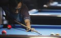 Billiards player competing in national championship in solo central java indonesia Royalty Free Stock Photos