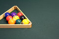 Billiards Pool Nine Ball Rack with Copy Space on Table Royalty Free Stock Photo