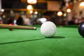 Billiards of pool a set or balls on a green flet table with copy space Stock Photography