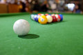 Billiards of pool a set or balls on a green flet table with copy space Stock Image