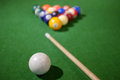 Billiards of pool a set or balls on a green flet table with copy space Royalty Free Stock Photography