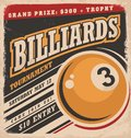 Billiards retro poster design layout Royalty Free Stock Photo