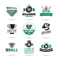 Billiards and snooker icons set - 2 Royalty Free Stock Photo