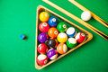 Billiards top view of billiard balls and cues on green table Stock Photos