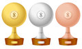 Billiards trophy set Stock Photos