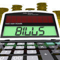 Bills calculator shows accounts payable and due showing Royalty Free Stock Photo