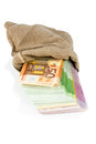 Bills in a sack bag photo icon for savings black money bribery and corruption Stock Images