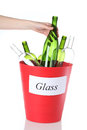 Bin full glass ready recycling isolated Stock Images