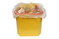 Bin with trash garbage bin yellow can of isolation on a white background clipping path Stock Photography