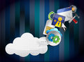 Binary cloud of colorful application icons Stock Image