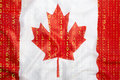 Binary code with Canada flag, data protection concept Royalty Free Stock Photo