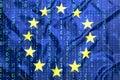 Binary code with European Union flag Royalty Free Stock Photo