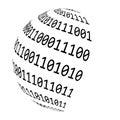 Binary code globe vector symbol icon design. Royalty Free Stock Photo