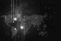 Binary Code Map Dark Background Royalty Free Stock Photo