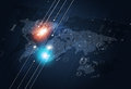 Binary Code Map Dark Blue Background Royalty Free Stock Photo
