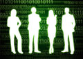 Binary digit people silhouette of businessmen in technology background Stock Image