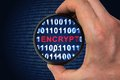 Binary encrypted code with encrypt word inside Royalty Free Stock Photo