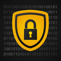 Binary shield yellow data protection Stock Photo