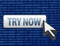 Binary try now button and cursor illustration Stock Photo