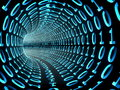 Binary tunnel a futuristic made of numbers and Royalty Free Stock Photography