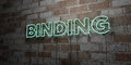 BINDING - Glowing Neon Sign on stonework wall - 3D rendered royalty free stock illustration
