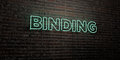 BINDING -Realistic Neon Sign on Brick Wall background - 3D rendered royalty free stock image