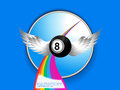 Bingo ball with wings rainbow and sample text