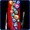 Bingo Balls on black and red background