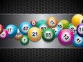 Bingo Balls on brushed metallic panel