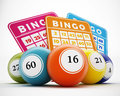 Bingo Balls And Cards. 3D Illu...