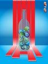 Bingo balls in a glass bottle over stripes