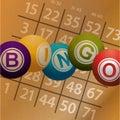 Bingo balls and numbers on brownpaper background