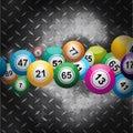 Bingo balls over metallic diamond plate