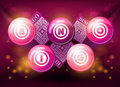 Bingo balls on pink background Royalty Free Stock Images